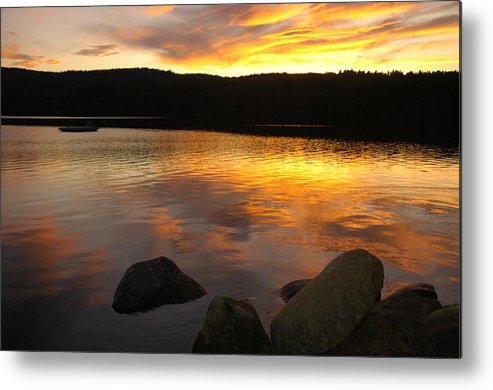 Golden Pond Metal Print featuring the photograph Sunset At The Lake by Darcy Dekker