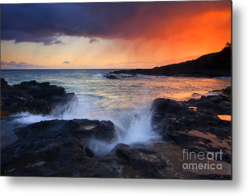 Waves Metal Print featuring the photograph Sunset Storm Passing by Mike Dawson