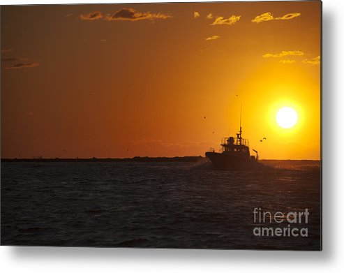 Sunset Metal Print featuring the photograph Sunset With Fishing Boat At Sea by Andre Babiak