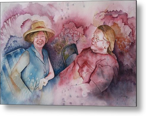 Character Portraits Metal Print featuring the painting Taylor And Chuck At The Picnic by Patsy Sharpe