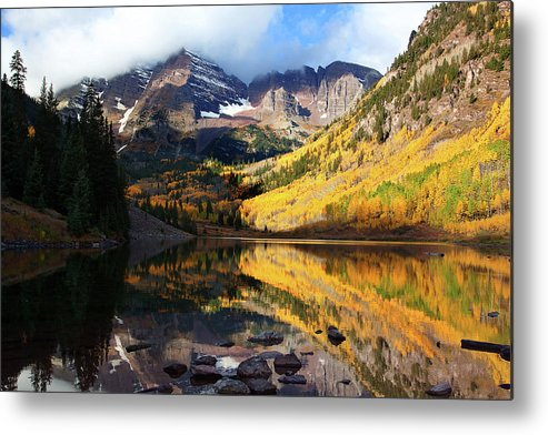 Autumn Colors Photograph Metal Print featuring the photograph The Bells Are Ringlng by Jim Garrison