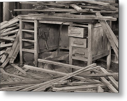 A Cluttered Desk Metal Print featuring the photograph The Cluttered Desk by JC Findley