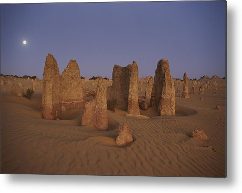 Australia Metal Print featuring the photograph The Moon Rises Over Limestone Pinnacles by Sam Abell
