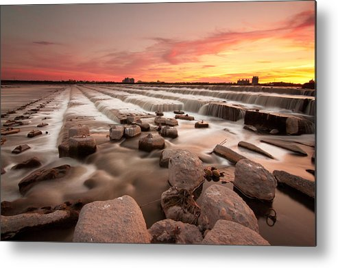 Horizontal Metal Print featuring the photograph The Sunset By Dam by Photographs by Wen