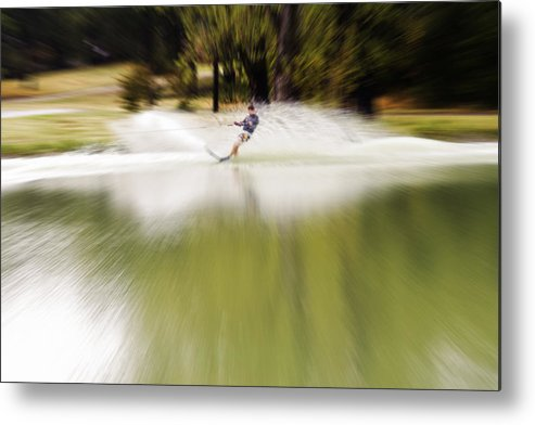 The Water Skier Metal Print featuring the photograph The Water Skier 1 by Douglas Barnard