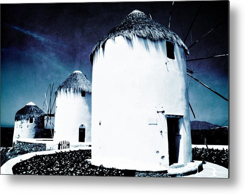 Mykonos Metal Print featuring the photograph The Windmills Of Mykonos - Textured Blue by Laura Melis