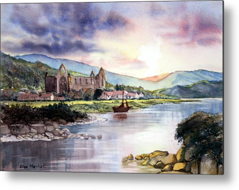 Landscape Metal Print featuring the painting Tintern Abbey by Glenn Marshall