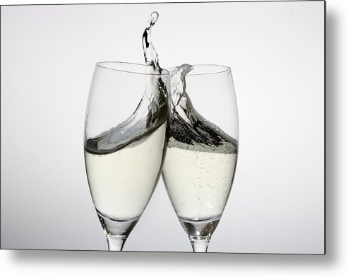 Horizontal Metal Print featuring the photograph Toasting With Two Glasses Of Champagne by Dual Dual