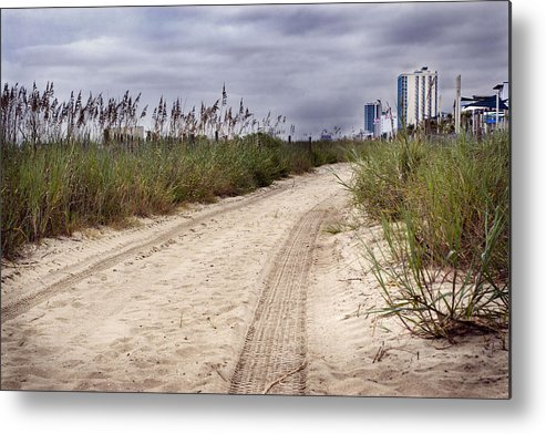 Beach Metal Print featuring the photograph Tracks To The City by Lisha Segur