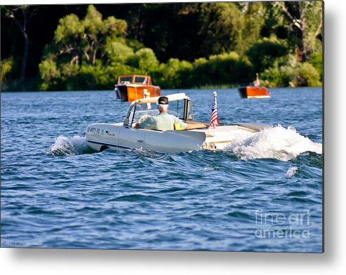 Amphicar Metal Print featuring the photograph Trolling by Mitch Shindelbower