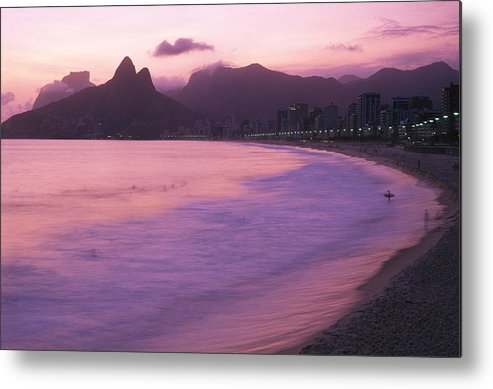 South America Metal Print featuring the photograph Twilight View Of Ipanema Beach And Two by Michael Melford