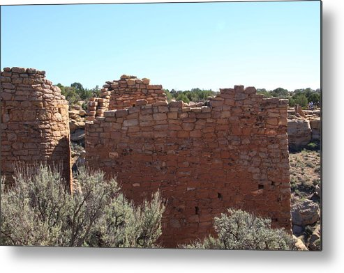 Hovenweep National Monument Metal Print featuring the photograph Twin Towers At Hovenweep by Cynthia Cox Cottam
