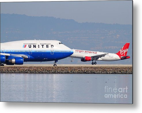 Virgin Metal Print featuring the photograph United Airlines And Virgin America Airlines Jet Airplanes At San Francisco International Airport Sfo by Wingsdomain Art and Photography