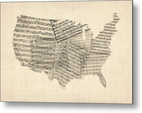 United States Map Metal Print featuring the digital art United States Old Sheet Music Map by Michael Tompsett