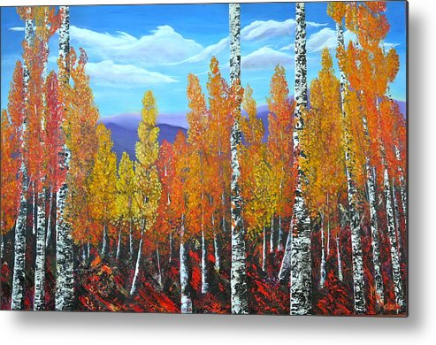Autumn Aspens Metal Print featuring the painting Up Up And Away by Mark Malone