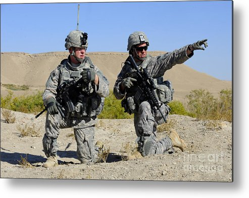 Middle East Metal Print featuring the photograph U.s. Army Soldiers Familiarize by Stocktrek Images
