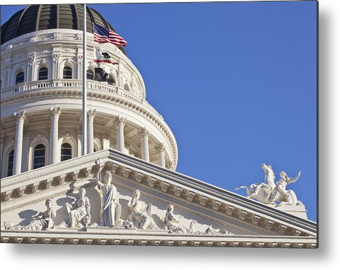 Horizontal Metal Print featuring the photograph Usa, California, Sacramento, California State Capitol Building by Bryan Mullennix