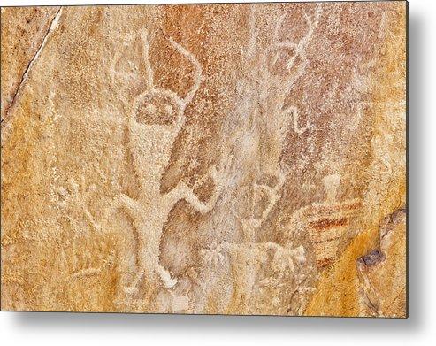 Horizontal Metal Print featuring the photograph Usa, Utah And Colorado, Dinosaur National Monument, Petroglyphs by Bryan Mullennix