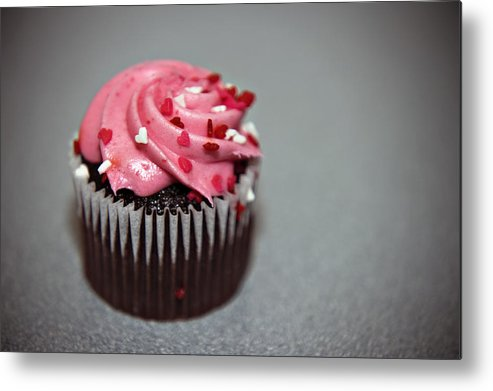 Against Metal Print featuring the photograph Valentines Cupcake by Malania Hammer