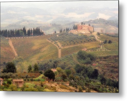 Tuscany Metal Print featuring the photograph Villa On A Hill In Tuscany by Greg Matchick