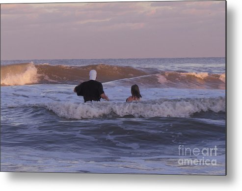 Human Metal Print featuring the photograph Waiting For The Huge Wave by Donna Brown
