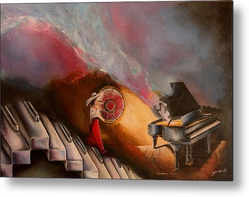 Piano Metal Print featuring the painting Waiting For The Right Tune by Sandra Navarro