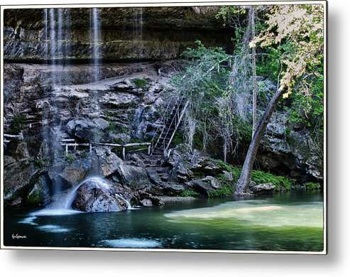 Water Metal Print featuring the photograph Water And Lights At Hamilton Pool by Lisa Spencer