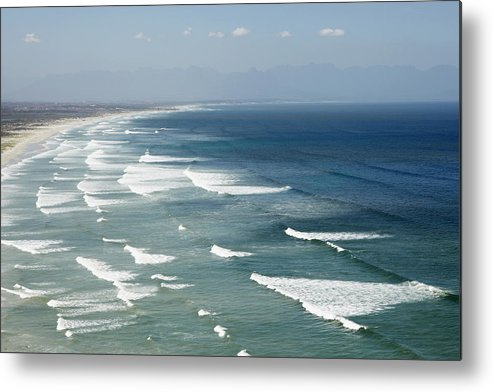 Horizontal Metal Print featuring the photograph Waves Rolling On Sandy Beach by Sidsel Clement
