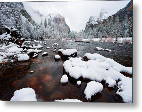 Yosemite National Park Metal Print featuring the photograph Winter Beauty by Bernard Chen