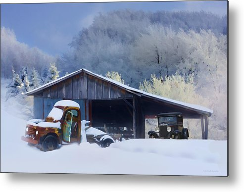 Winter Metal Print featuring the photograph Winter Shed by Ron Jones