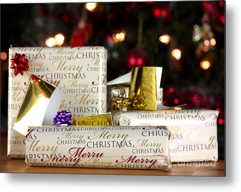 Anniversary Metal Print featuring the photograph Wrapped Gifts With Tags by Simon Bratt Photography LRPS