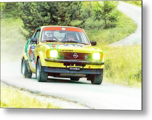 Car Metal Print featuring the photograph Yellow Opel by Alain De Maximy