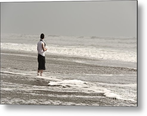 Ocean Metal Print featuring the pyrography Young Man And The Pacific Ocean by Yurix Sardinelly