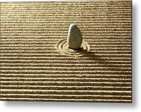 Horizontal Metal Print featuring the photograph Zen Stone On Sand by Yuji Sakai