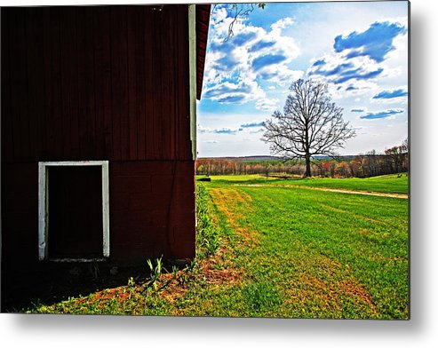 Red Metal Print featuring the photograph Barn Corner by Ty Helbach