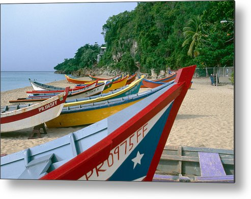 Aquadilla Metal Print featuring the photograph Colorful Fishing Boats On Crashboat Beach by George Oze
