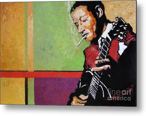 Jazz Metal Print featuring the painting Jazz Guitarist by Yuriy Shevchuk