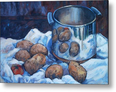 Still Life Metal Print featuring the painting  Pomme De Terre by Dianna Willman