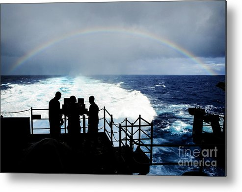 Timothy Schumaker Metal Print featuring the painting The Aircraft Carrier Uss Ronald Reagan by Celestial Images