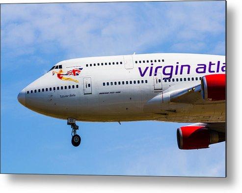 Virgin Metal Print featuring the photograph A Virgin Atlantic Boeing 747 by David Pyatt