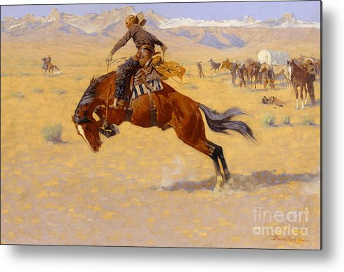 Cowboy; Horse; Pony; Rearing; Bronco; Wild West; Old West; Plain; Plains; American; Landscape; Breaking; Horses; Snow-capped; Mountains; Mountainous Metal Print featuring the painting A Cold Morning On The Range by Frederic Remington