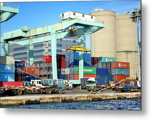 Taiwan Metal Print featuring the photograph A Container Is Loaded In Kaohsiung Port by Yali Shi