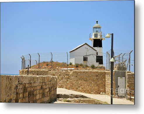 Lighthouse Metal Print featuring the photograph Acre, The Lighthouse by Shay Levy