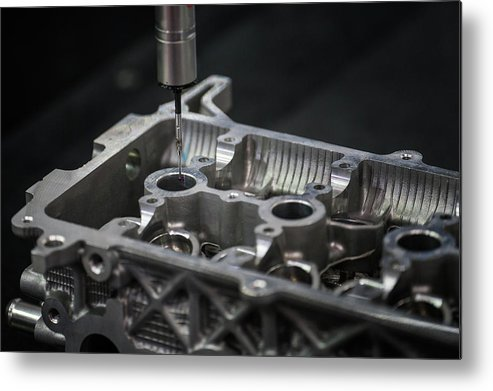 Cmm Metal Print featuring the photograph Aluminium Auto Part Inspection By Cmm Dimension Check Machine by Anek Suwannaphoom
