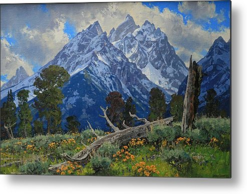 Metal Print featuring the painting Ancient Guardians by Lanny Grant