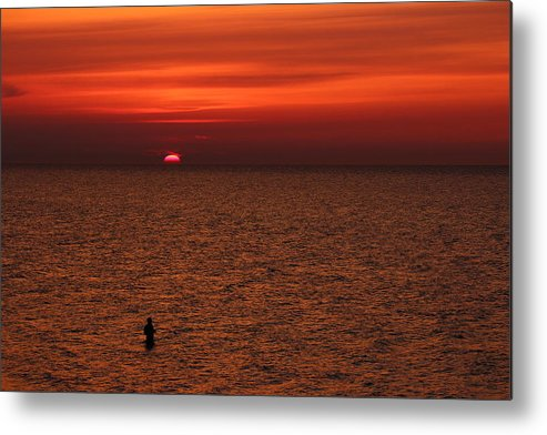 Abendstimmung Metal Print featuring the photograph Angler In Summer Sunset by Heike Hultsch