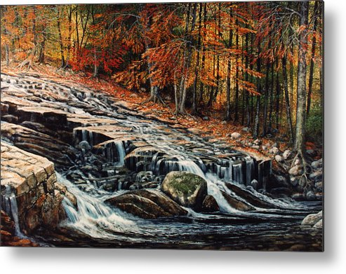 Landscape Metal Print featuring the painting Autumn Cascade by Frank Wilson