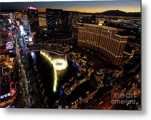 Las Vegas Metal Print featuring the photograph Bellagio Hotel Fountain, Las Vegas by Sv
