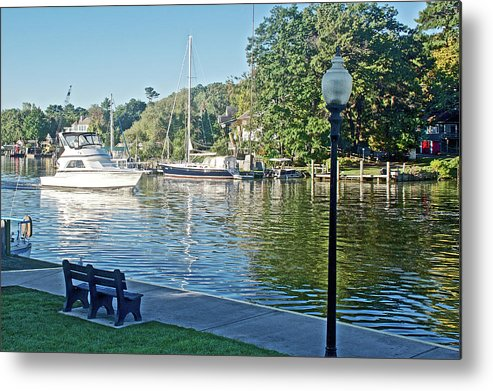 Boats On The Kalamazoo River In Saugatuck Metal Print featuring the photograph Boats On The Kalamazoo River In Saugatuck, Michigan by Ruth Hager