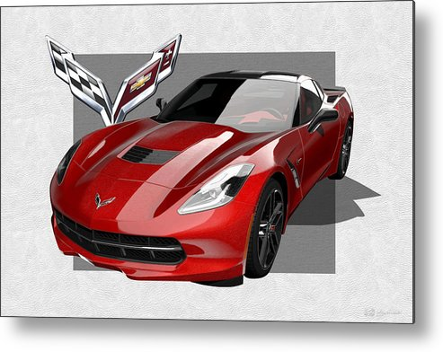 �chevrolet Corvette� By Serge Averbukh Metal Print featuring the photograph Chevrolet Corvette C 7 Stingray With 3 D Badge by Serge Averbukh